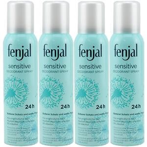 fenjal sensitive Deo Spray Deodorant für empfindliche Haut 0% Alkohol 4 x 150 ml