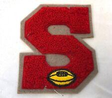 """Vintage Large 4"""" Red S Letterman Jacket Varsity Football Letter Shoulder Patch"""