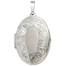 Medaillon oval 925 Sterling Silber rhodiniert mattiert Medallion H 39,9 mm
