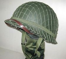 WWII US M1 Army Green Helmet W/Net + Canvas Net Chin Strap Collect Replica Kit