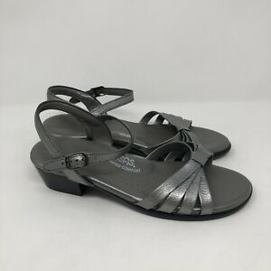 SAS comfort Women's ankle strap  Sandals Silver Leather size 9.5M