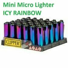 Metal Case Clipper Mini Micro CIG Lighter ICY RAINBOW COLOUR FAST DISPATCHED