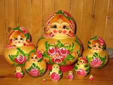 Russian HAND PAINTED nesting doll 10 GOLD Matryoshka Purple Flowers signed GIFT