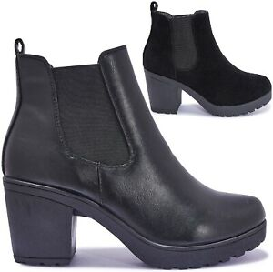 LADIES WOMENS CHUNKY BLOCK PLATFORM HEEL ANKLE CHELSEA WINTER SHOES BOOTS SIZE