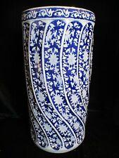 "Chinese Large Vintage Cobalt Blue & White Swirl Panels Floor Vase 18 1/8"" Tall"