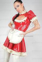 100% Latex Rubber Gummi Maid Dress 0.45mm Servant Catsuit Uniform Apron Suit