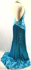 Nina Canacci Formal Dress SZ 6 Beaded Halter liquid Satin Pageant Gown Peacock