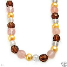 QUALITY SOLID 14K YELLOW GOLD FRESHWATER PEARL / TOPAZ  AND QUARTZ NECKLACE