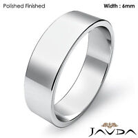 14k White Gold Plain Flat Pipe Cut Wedding Band Men Solid Ring 6mm 6gm 9-9.75