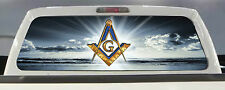 MASON / FREEMASON / MASONIC  TRUCK REAR WINDOW DECAL TINT WINDOW PERF 50/50