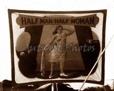 "SIDESHOW SIDE SHOW ""HALF MAN - HALF WOMAN"" BANNER TRANSVESTITE PHOTO"