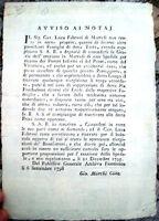 1798 RARISSIMO VOLANTINO DA MARRADI DI LUCA FABBRONI NASCITA OSPEDALE DEI POVERI