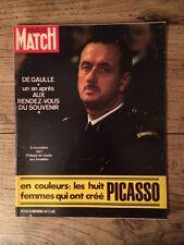 Paris Match du 20 Nov 1971 De Gaulle / femmes de Picasso