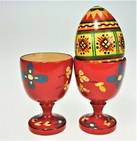2 Carved Wood Painted Egg Cups Norway & Painted Wood Egg Scandinavian  Folk Art