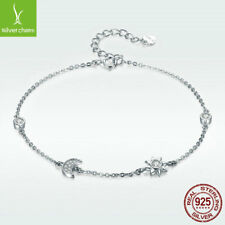 Moon & Sun 925 Sterling Silver Bracelet With Crystal CZ For Sunshine Women Chain