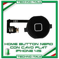 TASTO HOME PULSANTE CENTRALE CURSORE FLAT FLEX PER  IPHONE 4S NERO BLACK