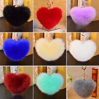 Charm Pompom Keychain Keyring Soft Fluffy Faux Rabbit Fur Heart HandBag Pendant