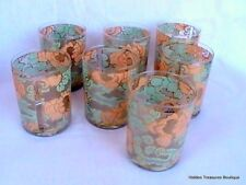 Vtg Set of 7 Double Old Fashioned Glasses Tumblers Pink Green Floral Gold Signed