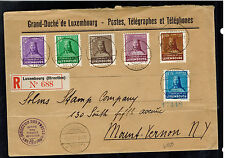1935 Luxembourg Registered Cover to USA # B67-B72 complete set