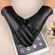 Touch Screen Pu Leather Gloves Women Winter Mittens Warm Woman Style Black