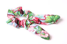 Sky Blue Scrunchie Wired Bow Green Plant&Pink Flamingo Birds Holiday Print(S622)