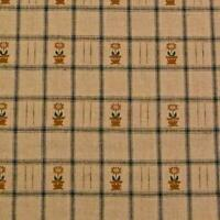 """58"""" W Vintage Wheat Brown & Dk Green Check, Embroidered Flowers, Cotton, Per Yd"""