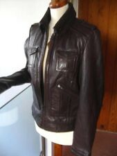RRP £130 Ladies NEXT brown leather JACKET COAT size UK 14 12 biker bomber