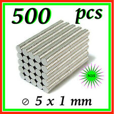 500 PCS  5 x 1 mm  Bulk Small Round Disc Magnets Powerful Craft NdFeB Magnet N35