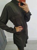 Zara women khaki satin button up long sleeve shirt dress size S