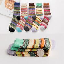 65dbb6d695b91 5 Paires Femme Fille Chaussettes Rayé Coloré Socquettes Sock Tricot Epais  Cadeau