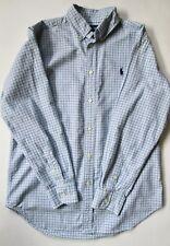 Anuncio nuevoRalph Lauren Aqua Azul Marino Camisa De Algodón Tela Escocesa  Oxford Checker Polo Pony chicos L 6ead0764a3c