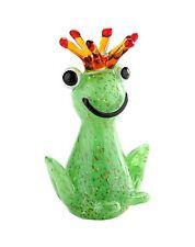 "New 7"" Hand Blown Art Glass King Frog Figurine Sculpture Statue Green Decorative"
