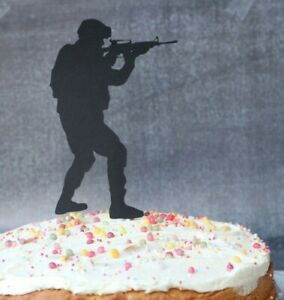 Soldier Army Birthday Cake Topper Hand Made Black Card