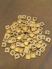 Lot 100 scrabble game tiles cream with black letters, ideal spares pieces parts