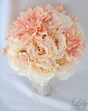 17 Piece Wedding Bridal Bouquet Silk Flower Decoration Package PEACH IVORY CORAL