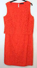 ORANGE FIRE RED LADIES PARTY FORMAL LACE DRESS SIZE 16 R GOK X FOR TU SHIFT