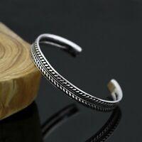 Charm 925 Silver Retro Leaves Open Bracelet Bangle Cuff Women Men Jewelry Gifts