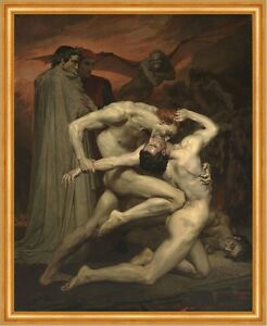 Dante and Virgile William Adolphe Bouguereau Kampf Inferno Nackt Mann B A2 03458