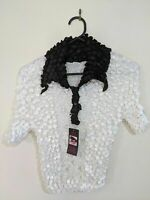 Women's Top Size Small White Black Collar Short Sleeve Stretchy