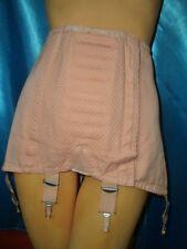 VINTAGE schweres Schnürkorsett rosa Hüfthalter Strapsmieder Girdle Straps (H911)
