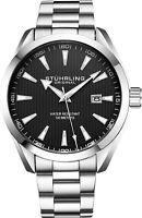 Stuhrling Black Dial Stainless Steel Silver Bracelet Japanese Quartz Mens Watch