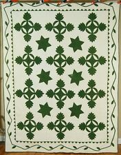 OUTSTANDING Vintage Pre Civil War Stars Oak Reel Applique Antique Quilt ~BORDERS