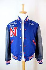 Men's Vintage 80s Wool & Leather Varsity Letterman Jacket Red / Blue sz 42 Large