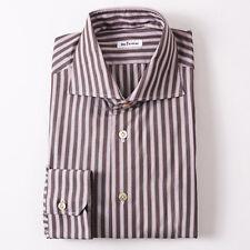 NWT $795 KITON NAPOLI Brown and Pink Stripe Dress Shirt 16.5 x 36 Modern-Fit