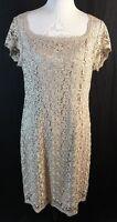 Gorgeous Linea Taupe Lace Overlay Dress Sheath Sz 16 SS  Back Zipper MOB