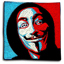 Vendetta Anonymous Guy Fawkes Mask Embroidered Patch Iron on Punk Harley Biker B