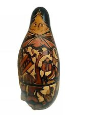 Hand Crafted Made Gourd Carved Ethnic Tribal folk art Peru 9