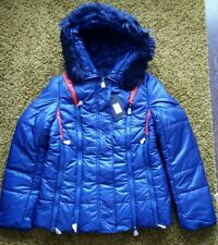 Fashion women padded coat with faux fur size L