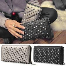 Women Punk Rivet Leather Bifold Wallet Card Phone Holders Zip Purse Long Handbag