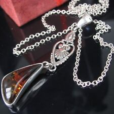 Antik Bernstein Collier Russland Silber 925 Anhänger Sterling Kette Damen Amber